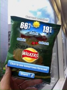 Walkers forecasts weather on crisp packets with augmented reality app