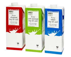 Marks & Spencer launches its first range of long life milk in Tetra Pak cartons