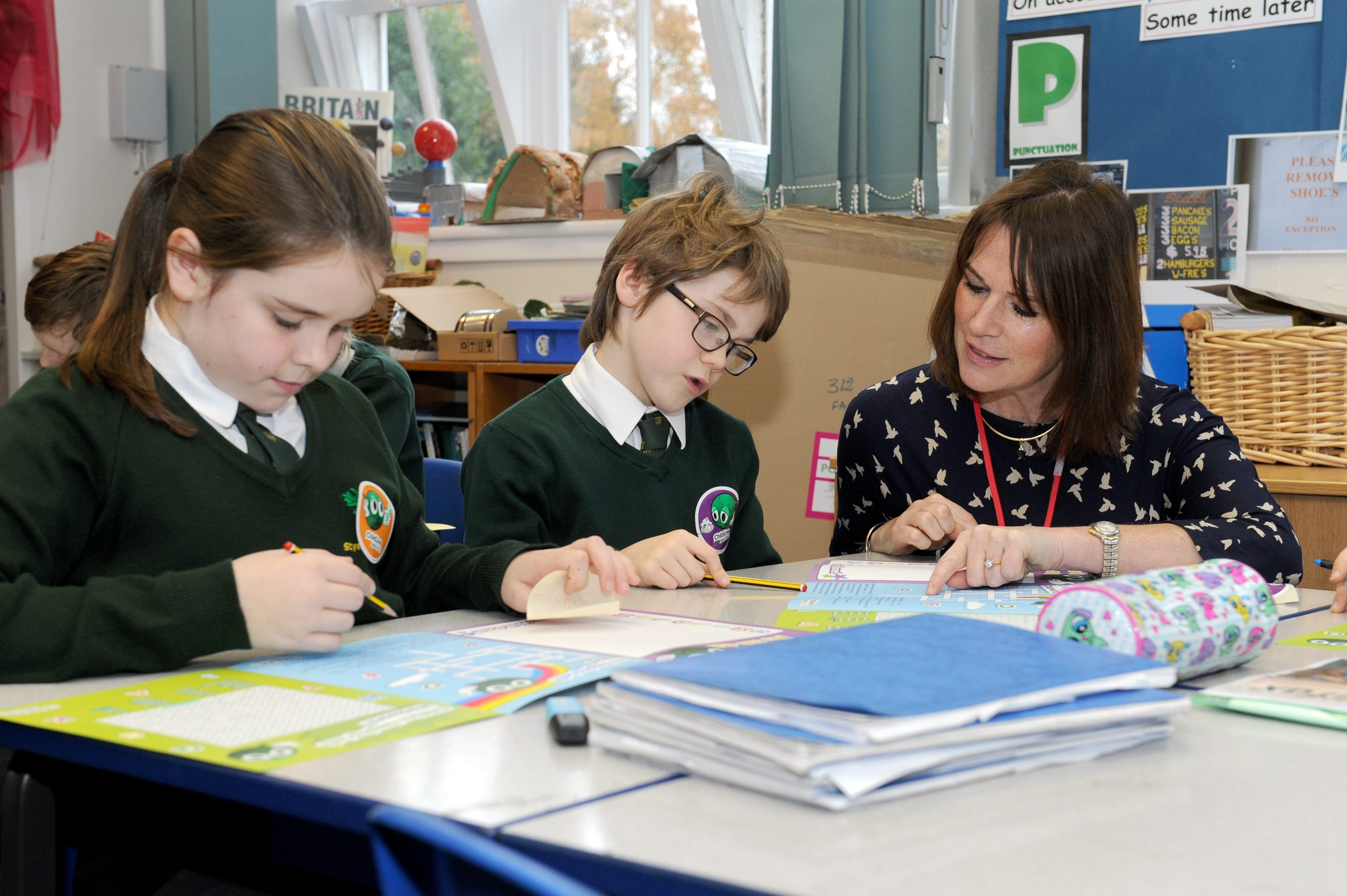 Spar UK MD Debbie Robinson seeing how the ChildLine Schools Service is delivered at Styal Primary School in Wilmslow
