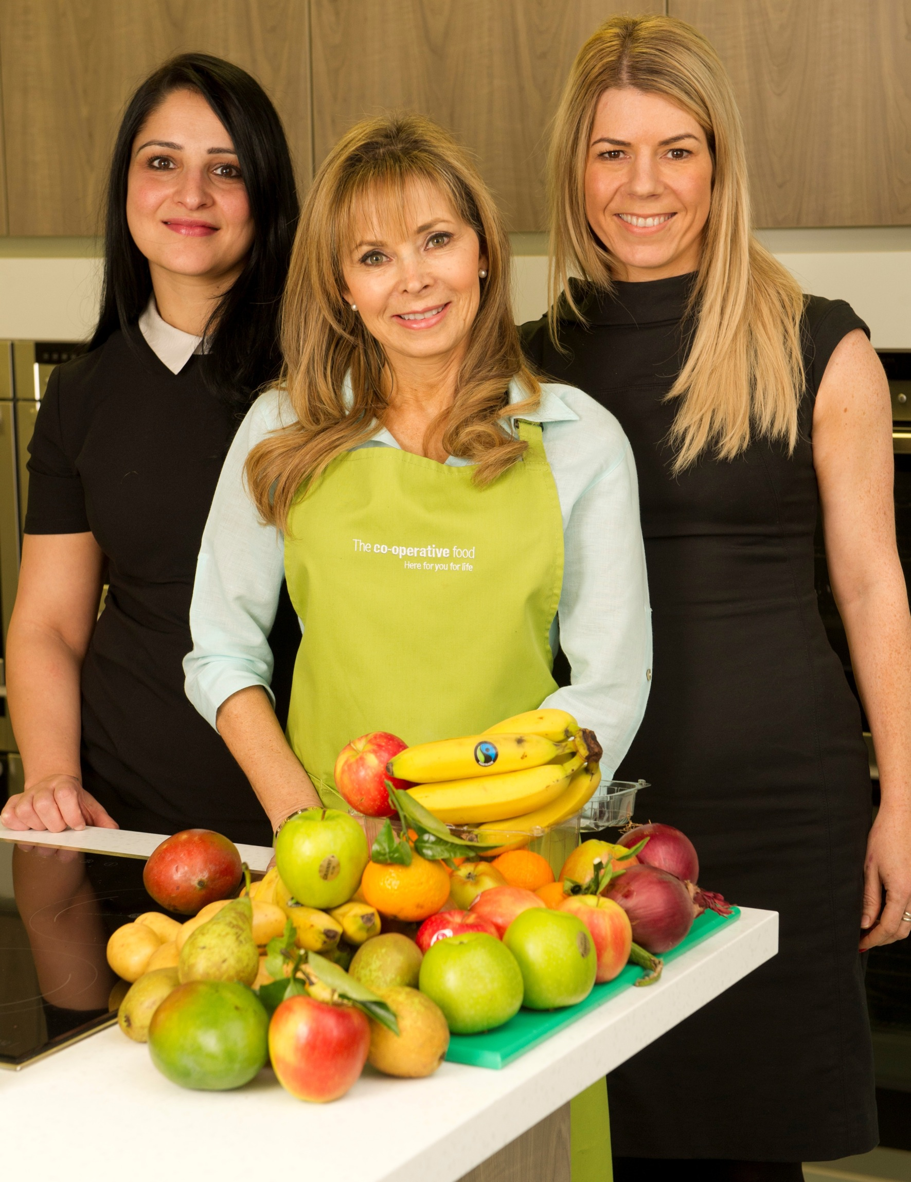 Karmel (centre) with Salma Khan, category trading manager for the baby category (left) and CJ Antal-Smith