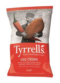 Tyrrells expands its range of veg crisps with launch of Sweet Potato with Smoked Chipotle Chilli crisps