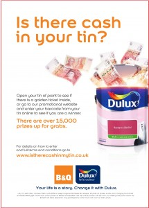 Dulux launches £250,000 'cash in tin' promotion in B&Q stores