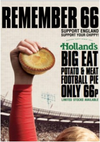 Holland's Pies pays homage to 1966 with 66p potato and meat football pie