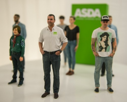 Asda president and CEO Andy Clarke (forefront) in 3D photo showcased its in-store 3D scan and printing booth at the event, which is currently being rolled-out in stores across the UK