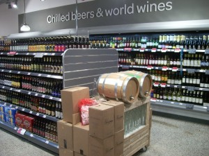 Credible BWS display with refillable wine bottles