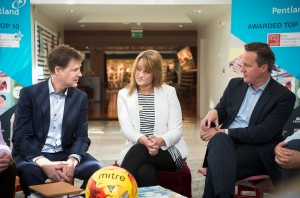 Nick Clegg, Leana Moss recent graduate at Pentland Brands and David Cameron