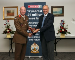 Major General thanks Spar wholesaler, James Hall, for support to NAAFI