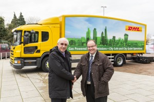 Leon Daniels, managing director of Surface Transport at Transport for London (left) and Tim Slater managing director of Transport UK & Ireland at DHL (right) at the truck launch