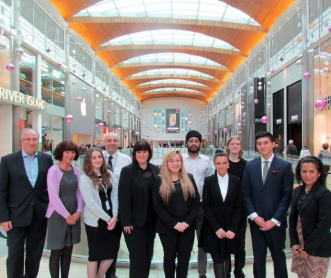 """Apprentices at Hammerson's Highcross Lecister include:  Joe Creasey (TM Lewin), Holly Furnival (Goldsmith), Georgia McNamee (Highcross) and Calum Aldwinckle (Image Surgeon)."""""""