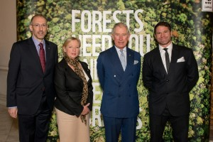 HRH The Prince of Wales, Steve Backshall, Deborah Meaden and WWF-UK's Chief Executive David Nussbaum at WWF's Forest Business Forum at the Royal Society, ahead of discussions with major UK businesses on how to move the global demand for timber onto a sustainable footing and reduce the impact of deforestation on the world's forests