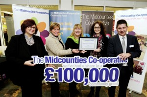 (L-R): Di Bateman, The Midcounties Co-operative, Mandy Larcombe, South Marston Youth Club, Ruth FitzJohn, The Midcounties Co-operative, Julie Hatherhall, South Marston Youth Club and Sean Varney, The Midcounties Co-operative