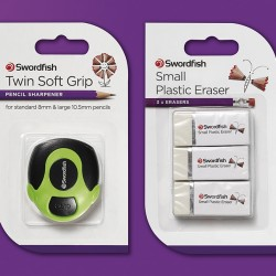 Falcon creates new packaging design for Swordfish pencil sharpeners and erasers