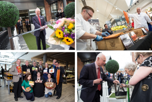 Chairman Edwin Booth opening the new Hale Barns Booths; World Champion salmon slicer Darren Matson competing against director Simon Booth; a selection of loyal and local Booths suppliers to the new store, Edwin Booth presenting Lillian Barrow with a bar of her favourite Booths dark chocolate
