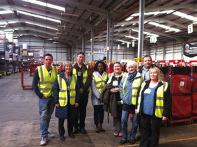 Retailers representing SPAR at YMCA Hanley in Stoke-on-Trent, Staffordshire, take a tour of one of A.F. Blakemore's warehouses at the Longacres Industrial Estate in Willenhall, West Midlands
