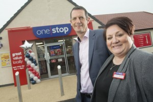 One Stop retail director Mark Williams and store manager Kat Ward