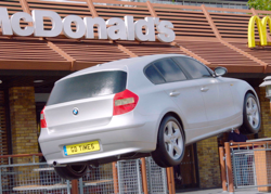 McDonald's stages 'flying car' at drive thru in 'good times' brand campaign