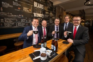 L to r:  Nick Stork relationship director at Lloyds Bank Commercial Banking, Warren Lewis, head of HSBC corporate banking Wales, Martin Reed, finance director of SA Brain & Co, John Rhys, chairman of S.A. Brain & Co and Mike Kear, relationship director at HSBC Corporate Banking Wales