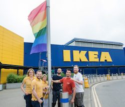 IKEA flies the rainbow flag at all of its 22 stores across the UK and Ireland for International Day Against Homophobia, Biphobia and Transphobia (IDAHOT)