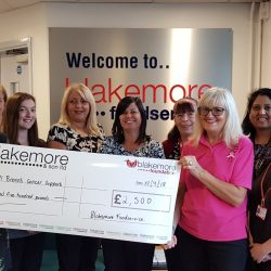 Blakemore Foodservice donates £5,000 to Midlands-based Cancer charities