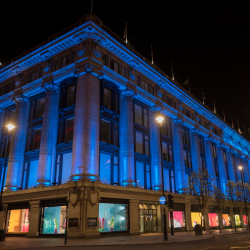 Iconic landmarks in London's West End turned blue in support of NHS workers