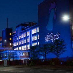 Kellogg's Manchester factory lights up blue in honour of NHS