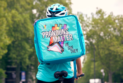 Deliveroo launches rider pronoun bags by Daniel Quasar to help fly the flag for World Pride Month